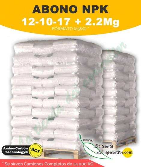 Abono 12 - 10 - 17 + 2'2 Mg - 24.000 kg en formato de 25 Kg