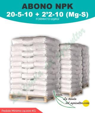 Abono 20 - 5 - 10 + 2'2-10 (Mg-S) - 24.000kg en formato de 25kg